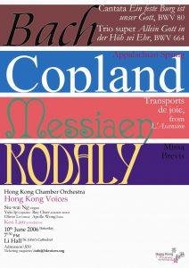 Bach, Copland, Messiaen, Kodály